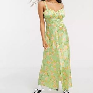 ASOS Satin Floral Maxi Dress Button Slip Dress